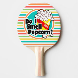Funny Popcorn; Bright Rainbow Stripes Ping-Pong Paddle