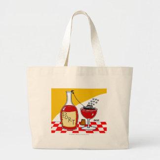 Funny Port Wine Cartoon Large Tote Bag