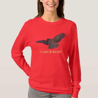 Funny Positive Landing Great Grey Owl Wildlife Art T-Shirt