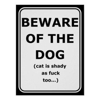 Funny poster beware of the dog, cat is shady too