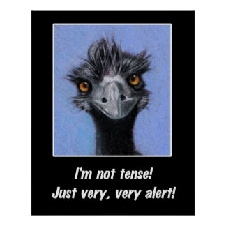 Funny Poster: I'm NOT Tense, just very alert: Emu Poster