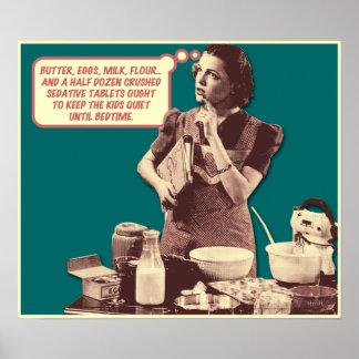 Funny Poster - Retro Housewife Sleepytime Cake