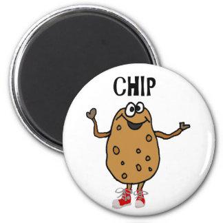 Funny Potato Named Chip Cartoon Magnet
