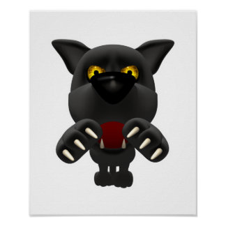 funny pouncing black panther print