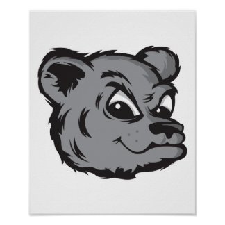 funny pouting black bear face poster