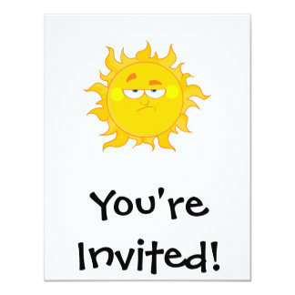 funny pouting sun cartoon card