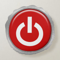 funny power on off buttons geeky design round pillow