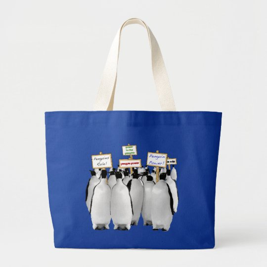 Funny Power to the Penguins Large Tote Bag