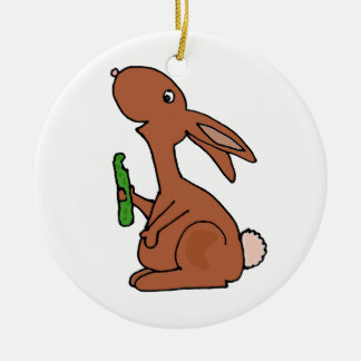 Funny Pregnant Brown Bunny Rabbit with Pickle Ceramic Ornament