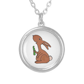Funny Pregnant Brown Bunny Rabbit with Pickle Pendants