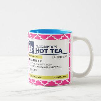 Funny Prescription Hot Tea with custom Monogram Two-Tone Coffee Mug