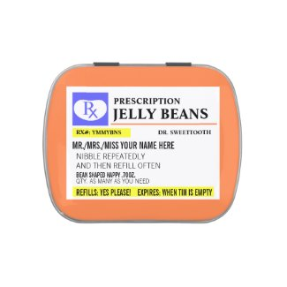 Funny Prescription Jelly Bean Jelly Belly Candy Tin