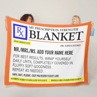 Funny Prescription Label Fleece Blanket