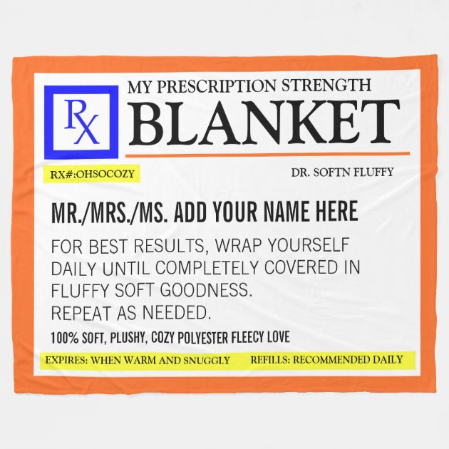 Funny Prescription Label Fleece Blanket   Zazzle.com