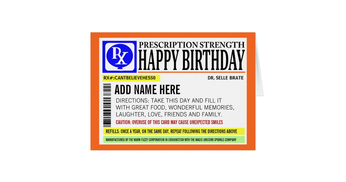 Funny prescription label happy birthday greeting card zazzle bookmarktalkfo Images