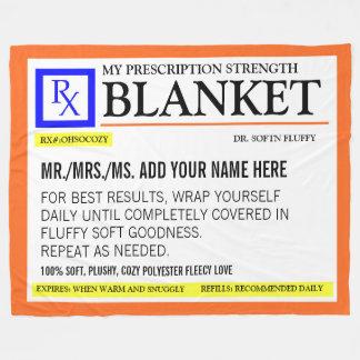 Funny Prescription Label Fleece Blanket
