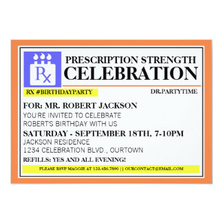 Funny Prescription Label Party Invitations