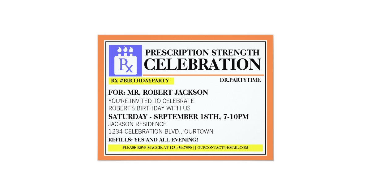 Funny Prescription Label Party Invitations Zazzle Com