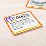 "Funny Prescription Label Square Paper Coaster<br><div class=""desc"">Great prescription label design for these reusable coasters</div>"