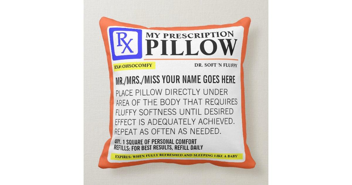 funny prescription label throw pillow