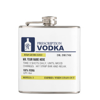 Funny Prescription Vodka Hip Flask