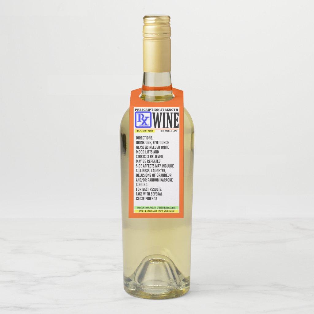 Funny Prescription Wine Label Bottle Hanger Tag