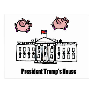 Funny President Trump When Pigs Fly Cartoon Postcard