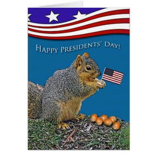 Funny Presidents' Day, Squirrel With Flag and Nuts Card