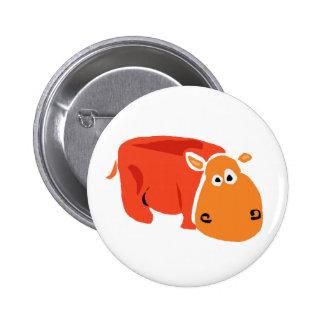Funny Primitive Art Hippo Button