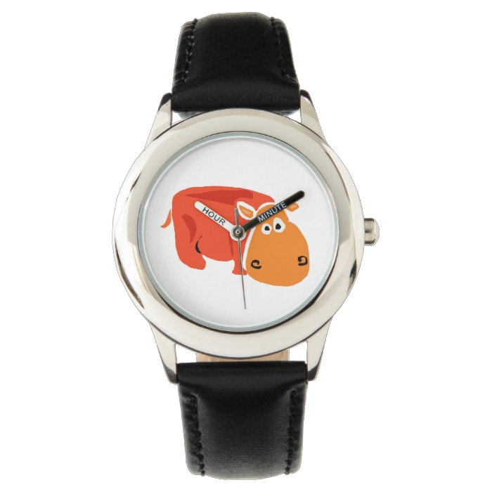 Funny Primitive Art Orange Hippo Watch