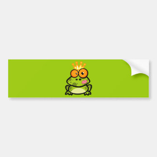 FUNNY PRINCE FROG CARTOON bulgy eyeballs crown Car Bumper Sticker
