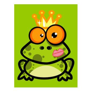 FUNNY PRINCE FROG CARTOON bulgy eyeballs crown Postcard