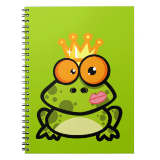 FUNNY PRINCE FROG CARTOON bulgy eyeballs crown Spiral Notebook