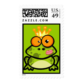 FUNNY PRINCE FROG CARTOON bulgy eyeballs crown Stamp