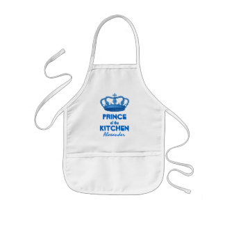 Funny Prince of the Kitchen Crown Custom Name 5 Kids' Apron