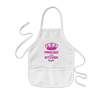 Funny Princess of the Kitchen Crown Custom Name 4 Kids' Apron