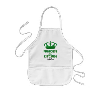 Funny Princess of the Kitchen Crown Custom Name A4 Kids' Apron