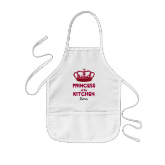 Funny Princess of the Kitchen Crown Custom Name A6 Kids' Apron