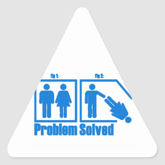 Funny Problem Solved Man Triangle Sticker