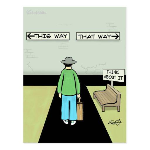 Funny Procrastination Cartoon Post Card