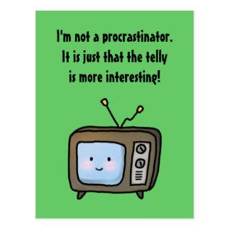 Funny Procrastinator Denial and the Cartoon Telly Postcard