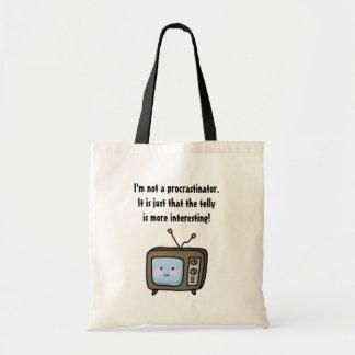 Funny Procrastinator Denial and the Cartoon Telly Tote Bag