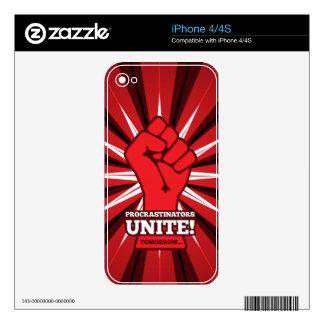 Funny: Procrastinators Unite! (Tomorrow) Decals For iPhone 4S