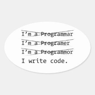 Funny Programmer Oval Sticker