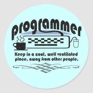 Funny Programmer Round Stickers