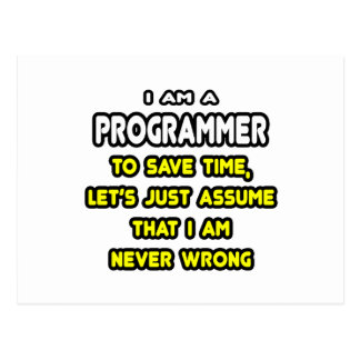 Funny Programmer T-Shirts and Gifts Postcard