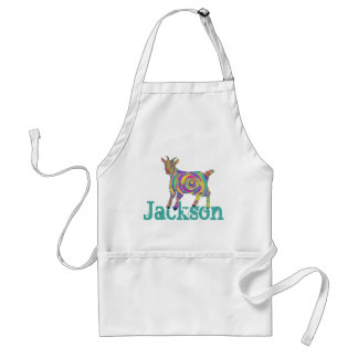 Funny Psychedelic Art Goat Design add Your Name Adult Apron