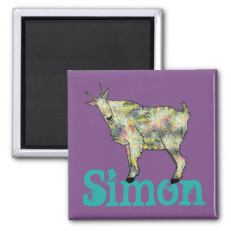 Funny Psychedelic Art Goat Design with Your Name Magnet