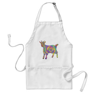 Funny Psychedelic Goat Colourful Spiral Animal Art Adult Apron