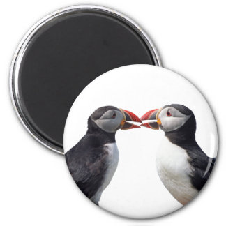 Funny puffins 2 inch round magnet